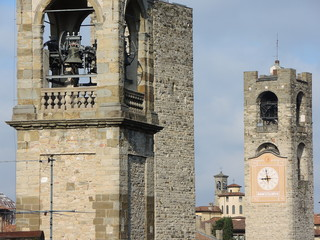 Bergamo - Old city (Città Alta), Italy. Landscape on the city center, the old towers and the clock towers from the old fortress