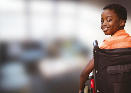 Composite image of handicap kid