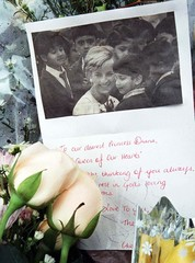 """A home-made card from a Malaysian admirer calling the late Princess Diana """"The Queen of our Hearts"""" .."""