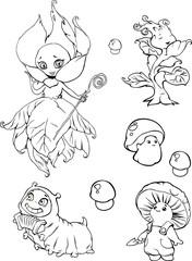 Illustration of funny cartoon garden fantasy characters, fairies, mushrooms, caterpillar