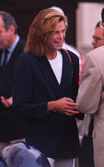 Princess Stephanie of Monaco smiles attending the awards ceremony of the Monte Carlo old cars rally...