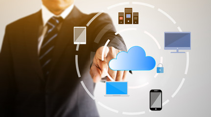 Businessman connecting to cloud network technology concept background