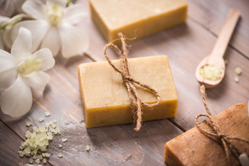 Obraz Handmade soap with white orchid. Spa products. - fototapety do salonu