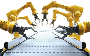 Roboter Arme am leeren Fließband weißer Hintergrund