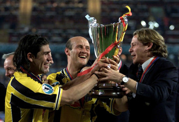 LAZIO'S SALAS AND LOMBARDO LIFT THE CUP WINNERS CUP.
