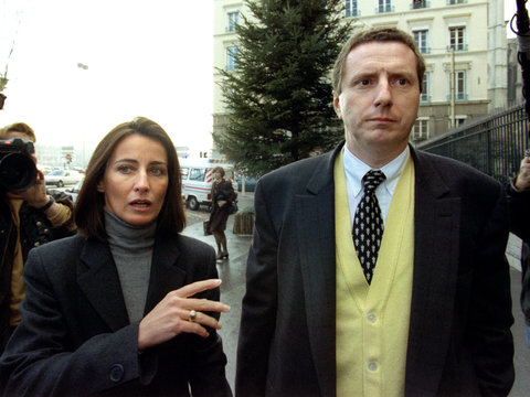 French businessman Pierre Botton (R) arrives at the courthouse with his lawyer Frederique Pons (L), ..