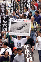 THOUSANDS IN HONG KONG PROTEST TO MARK 10TH ANNIVERSARY OF TIANANMEN MASSACRE.