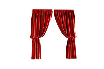 3D render Illustration of a red curtain on white background