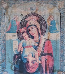 Old icon of the virgin Mary baby Jesus
