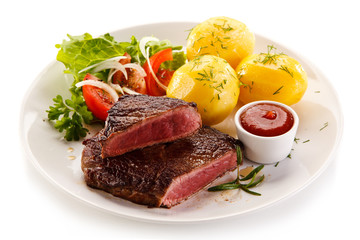 Grilled beefsteak with potatoes on white background