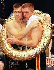 Light- heavyweight boxer Graciano Rocchigiani (R) and world champion of the World Boxing Organisatio..