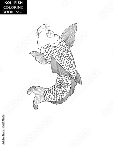 Koi Fish In Japanese Style Tattoo Design Coloring Book Page