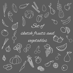 linear vector set of icons of fruits and vegetables on a gray background