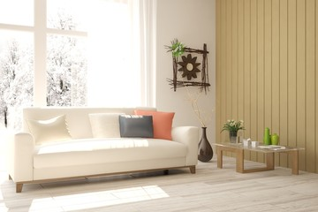White room with sofa and winter landscape in window. Scandinavian interior design. 3D illustration