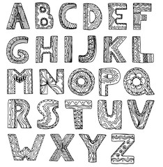 vector unusual alphabet doodle style letters on a white background