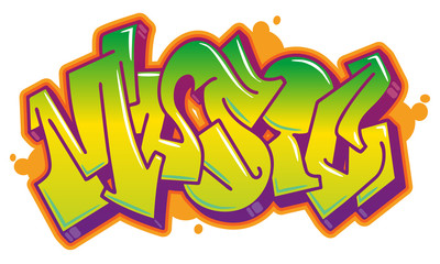 Music word in graffiti style