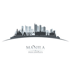 Wall Mural - Manila Philippines city skyline silhouette white background
