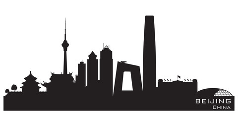Beijing China city skyline vector silhouette