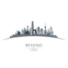 Beijing China city skyline silhouette white background