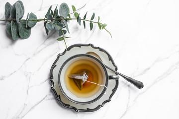 Vintage cup of tea, top view