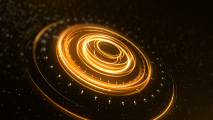 Science fiction futuristic 3D speed tunnel warp. Abstract lens flare space or time travel concept background. top view. 3d rendering
