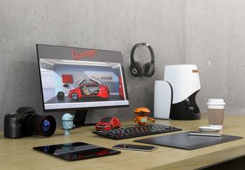 Product designer desktop with 3D scanner, digital graphic tablet, DSLR camera and bezel-less monitor. 3D rendering image.