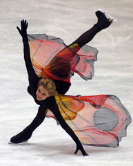 Vanessa Gusmeroli of France performs  her creation during the exhibition show at the end of the 1999..