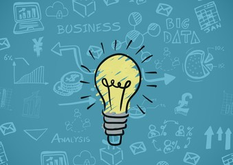 Colourful lightbulb with Business graphics drawings
