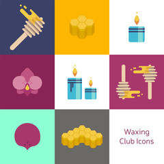 Wax spa club, beauty healthcare, body care banner. The set of vector flat icons with light and bright colours, Template image honey, honeycomb with orchid flower and warm relax candle.Печать
