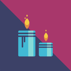 Image candle, with geometric shape illustration, lighting and aroma candles spa centre and beauty relax club.