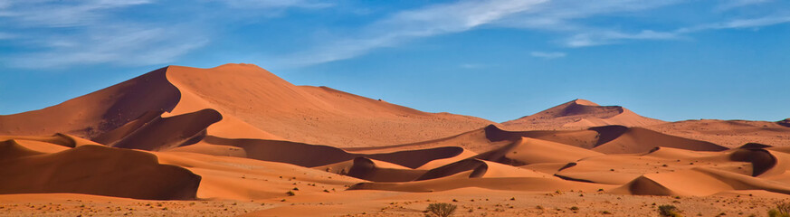 Aluminium Prints Orange Glow Panoramic of Sossus Dunes, Namibia