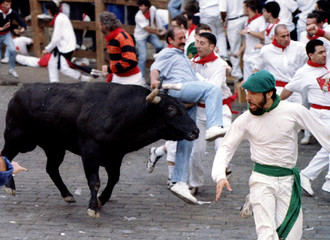 A runner is lifted by a fighting bull during the eighth and last bull run of the San Fermin festival..