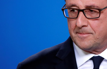 French President Francois Hollande attends his last summit presser after the EU summit in Brussels