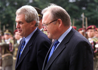 CZECH PRIME MINISTER MILOS ZEMAN AND HIS SWEDISH COUNTERPART GORAN PERSSON IN PRAGUE.