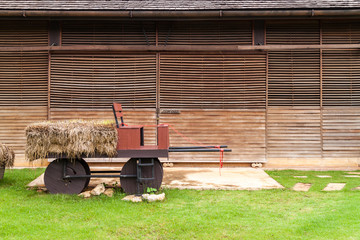 Wood carriage in a barn