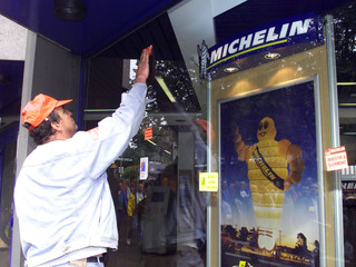 MICHELIN WORKERS DEMONSTRATE OVER JOB CUTS IN CLERMONT FERRAND.