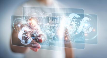 Hologram screen with digital datas used by businessman 3D rendering
