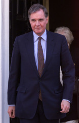 JONATHAN AITKEN LEAVES HIS HOME IN WESTMINSTER.