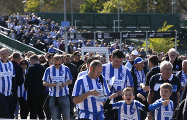 Brighton fans outside the stadium before the start of the match