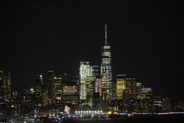 Skyline of New York Downtown at night