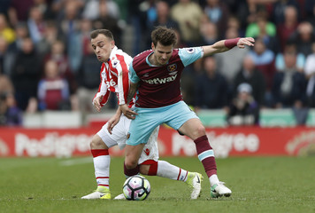 West Ham United's Havard Nordtveit in action with Stoke City's Xherdan Shaqiri