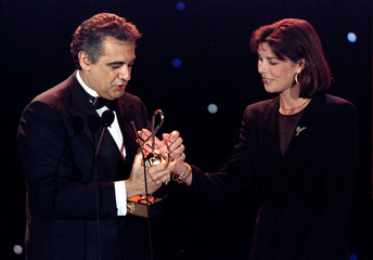 Princess Caroline of Monaco gives a Music Award to Spanish opera singer Placido Domingo in Monte Car..