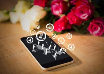 Phone on table with roses and white interface