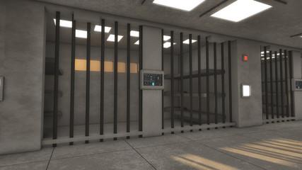3d render. 3d interior jail corridor