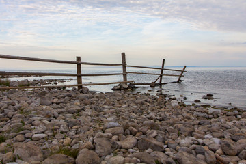Fence drowning in Lake Baikal on the island of Olkhon