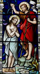 Fototapete - Baptism of Jesus Christ (stained glass)