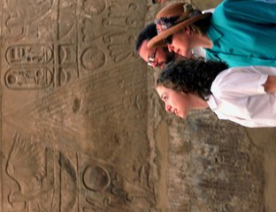 U.S. FIRST LADY AND CHELSEA AT KARNAK IN EGYPT.