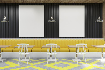 Cafe with posters, black and yellow