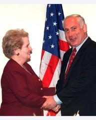 ALBRIGHT GREETS ISRAELI PM NETANYAHU IN LONDON.