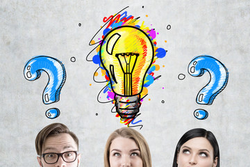 Business team, light bulb and questions